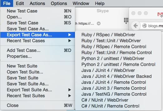 Exportar a WebDriver
